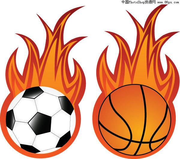 eps格式,含jpg预览图,关键字:矢量球类素材,抽象,足球,篮球,火焰,球类