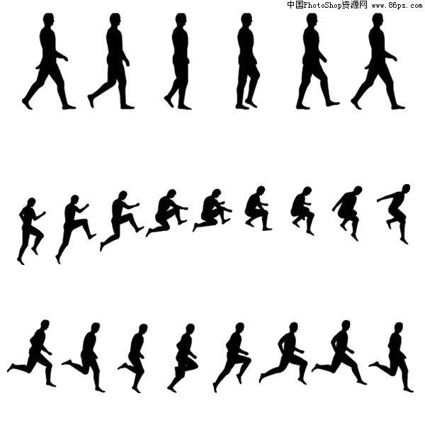 运动矢量素材,人物,运动,连续动作,剪影,行走,跑步,跳跃,体育,矢量