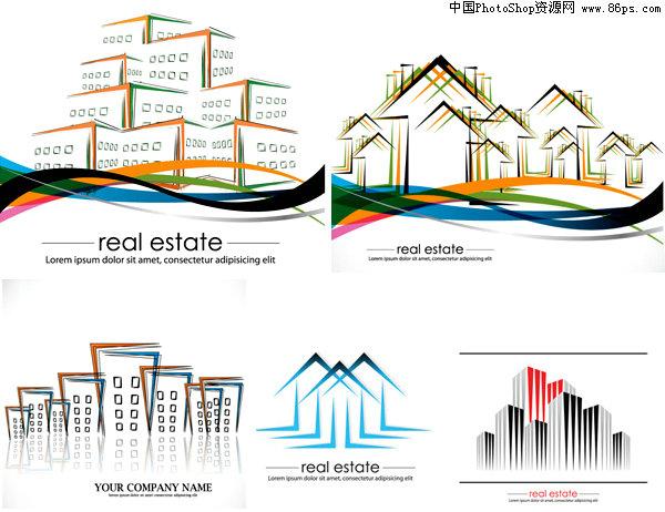 房地产logo矢量图381;; 房地产logo,图形,房子; eps格式,含jpg预览图