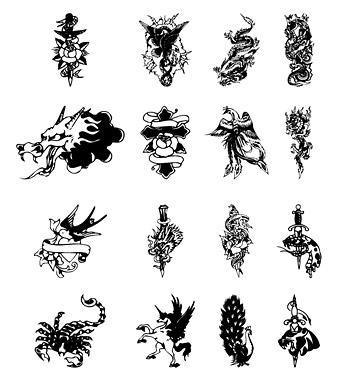 16款黑白纹身图腾矢量素材,eps格式,矢量素材,龙头,剑,蝎子,孔雀,欧式